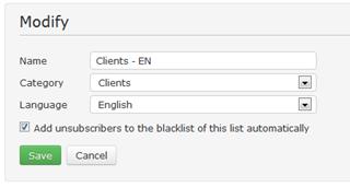 blacklist on mailing list level